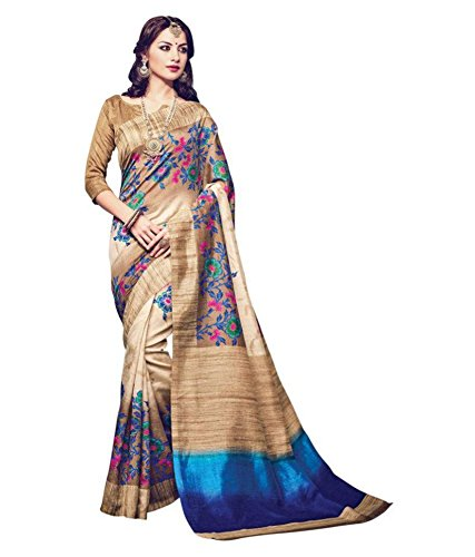 Color Trends Women\'s Printed Multicoloured Bhagalpuri Art Silk Saree And Blouse