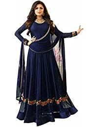 AnK Women's Blue Georgette Embroidered Anarkali Semi Stitched Salwar Suit