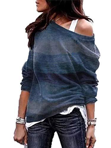 GARYOB Schulterfrei Oberteil Damen Off Shoulder Top Langarm Geometrie Gestreift Pullover Lose Tshirt Hemd