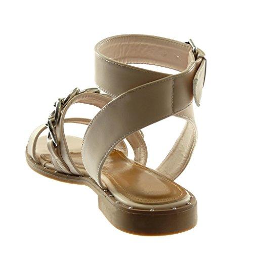 a Alla Sandali con Angkorly Catena Tanga Borchiati Blocco Moda Scarpe Cinturino cm Tacco Beige Donna Caviglia 2 q4x7SU