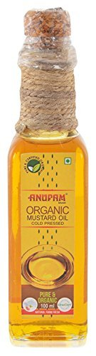 Anupam Organic Mustard Oil (Sarson Tel) cold pressed Glass bottle, 100 ml (pack of 2)  available at amazon for Rs.118