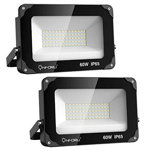 Onforu Lot de 2 Projecteur LED Éxterieur 60W, 6600LM Spot LED Puissant, IP66 Imperméable, 5000K...