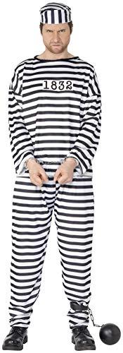 Kostüm Gefängnis Sträfling - Smiffys, Herren Sträfling Kostüm, Hemd, Hose und Mütze, Größe: XL, 96318