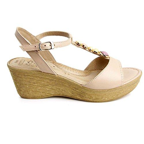 Batz BERNI Damen Hochwertigem Sommer Sandaletten, Sandalen, Lederschuhe, Schuhe Beige