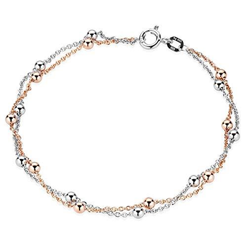 MATERIA Kugel Armkette rosegold Damen - 925 Silber Armband Frauen rose vergoldet 19cm in Geschenk Etui SA-109-Rose