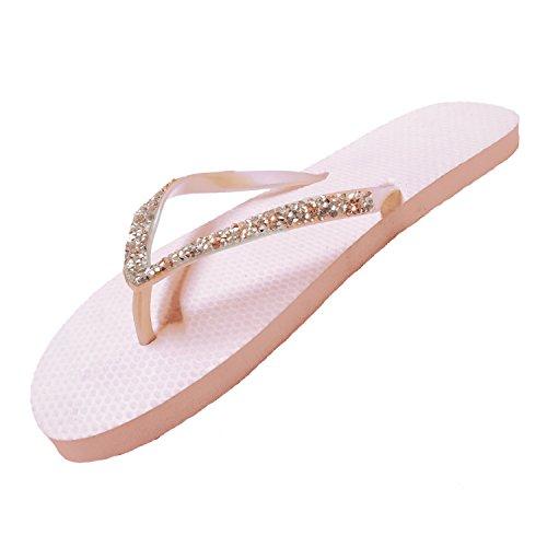 3dd3e327e SUGAR ISLAND®Ladies Girls Diamante FLIP Flops Sandals- Nude - 3 4
