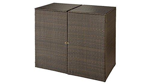baumarkt direkt Mülltonnenbox, für 2x120 l aus Polyrattan, B/T/H: 129/66/109 cm braun