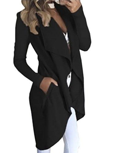 Offene Cardigan Strickjacke Asymmetrisch Strickmantel Mantel mit Tasche Fleece Mantel Winter Frühling Reverskragen Lang Umstandsbekleidung Jacke(BL,XL) (Billig Plus Size)