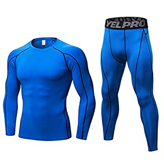 Minghe Mens Thermals Base Layer Set 2pc Thin Wicking Crew Neck Long Johns