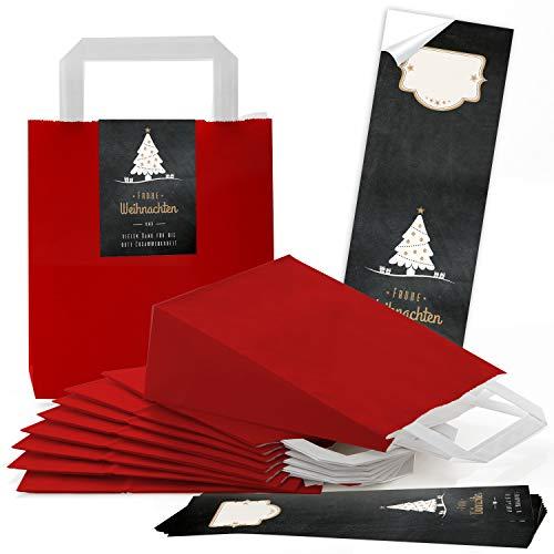 25 rote weihnachtliche Papiertüten Geschenktasche Henkel mit Boden 18 x 8 x 22 cm + 25 Aufkleber FROHE WEIHNACHTEN DANKE KUNDEN BAUM schwarz weiß gold Geschenk Verpackung Be-Füllen (Rot Strümpfe Gold Weihnachten Und)