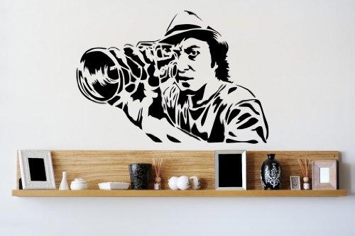 Broomsticker Banksy Mr. Guetta Mann mit Kamera Wand Aufkleber 45cm x 65cm, Links orientiert