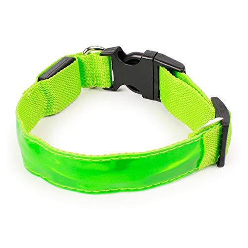 loonBonnie Cuello del Resplandor del LED 3 tamaños Cachorro de Perro Etiqueta del Animal doméstico luz Intermitente batería Nylon PVC Collar de Perro Luminoso Suave Color sólido