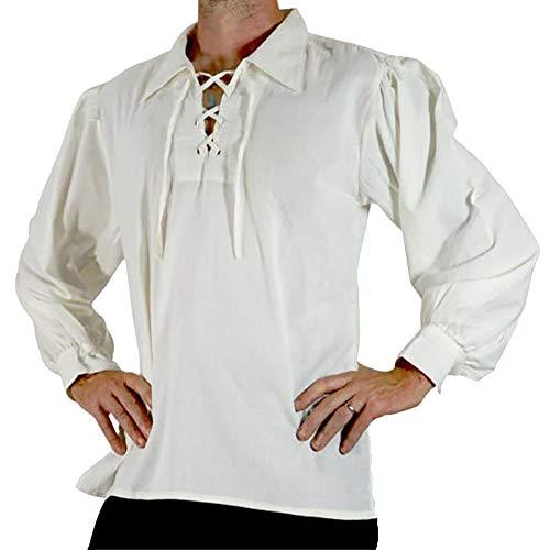 LiangZhu Herren Mittelalter Hemd Schnürhemd Gothic Steampunk Lose Spitze Viktorianisch Langarm Lace Up Tops Weiß 2XL (Günstige Herren Lustige Halloween-kostüme)