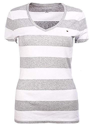 Tommy Hilfiger Damen T-Shirt, Women's Signature T-Shirt, White, Grey, XXL (Tommy Woman Polo-shirt Hilfiger)