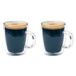 2 tazze Bistro in vetro a doppia parete, per caffè e tè, 300 ml