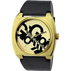 Gio Goi Men's Quartz Watch with Gold Dial Analogue Display and Black Leather Strap GG1037BG