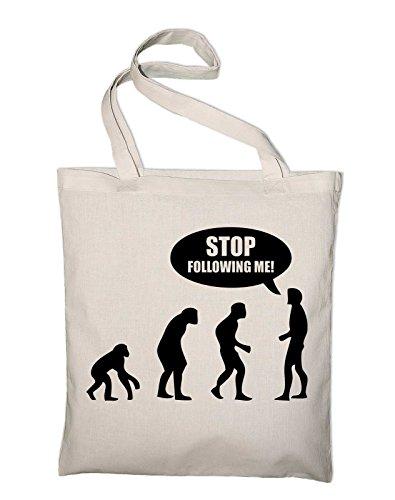 Stop Following Me Evolution Fun Jutebeutel, Beutel, Stoffbeutel, Baumwolltasche, schwarz Natur