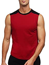 Gritstones Maroon/Black Round Neck Sleeveless Vest (t shirts) GSVST1486MENBLK-L