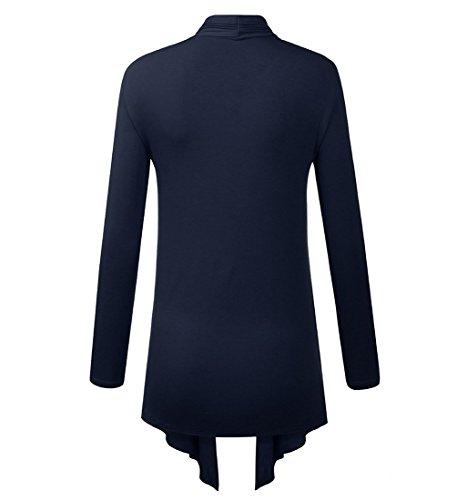 Lymanchi Damen Offene Strickjacke Asymmetrisch Cardigan Lang Strickmantel Langarmshirt Navy Blau