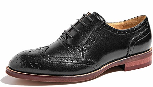 Damen Leder Flat Vintage Brogue Oxfords Schuhe Comfy -