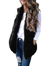 FELZ Mujer Abrigos de Invierno Abrigo Capa Chaleco de Felpa de Bolsillo para Mujer diseño Abrigo