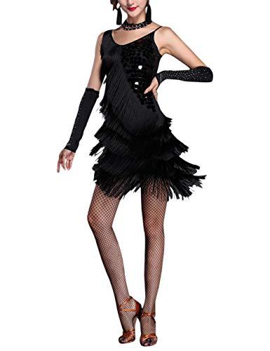 besbomig Erwachsene Sexy Abendkleider Quaste Pailletten Salsa Tango Latein Kleid - Damen Ballroom Cocktail ()