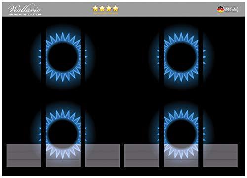Wallario Ordnerrücken Sticker Flammen - Gasherd bei Nacht in Premiumqualität - Größe 36 x 30 cm, passend für 6 breite Ordnerrücken