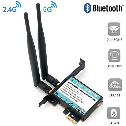 P3 Dual-karte (802.11AC Desktop WLAN-Karte 802.11 A/B/G/N/AC Bluetooth 4.0 AC1200 2,4 Ghz-300 Mbps/5 Ghz-867 Mbps Karte mit Low Profile Bracket)