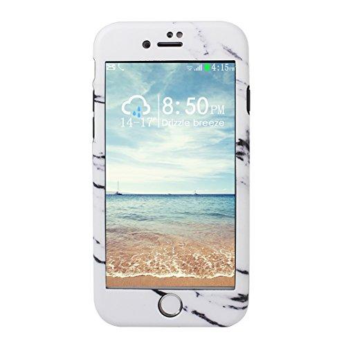 Dur Coque Pour iPhone 7, Asnlove PC Hard Cover Intégrale Avant et Arrière Housse avec Protection d'écran en Verre Trempé Cas Rigide Étui Antichoc Case Pour iPhone 7 - Noir Blanc