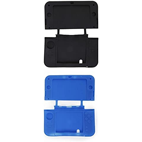 Azul Cubierta Protectora De La Piel Funda De Silicona Negro Para La Nueva Nintendo 3DS LL / Xl