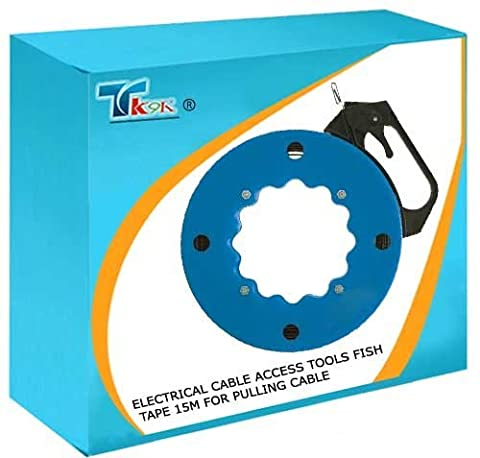 TK9K - Electrical Cable Access Tools Fish Tape 15m For pulling cable through conduit, under floors and inside cavities. Flexible spring steel with eyed end. Side handle with brake. by TK9K