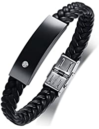 VNOX Bracciale in acciaio personalizzato in pelle intrecciata nera in  acciaio inossidabile personalizzato per fidanzato regalo di papà… 9a39399e041