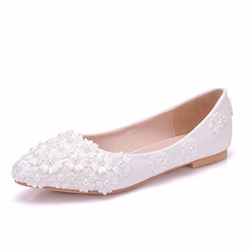 Applique Perlen (MSFS Damenschuhe Hochzeit Wohnungen Ballerina Perle Spitze Appliques Braut Party Größe 35 Bis 42,EU41)