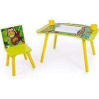 Preisvergleich für Homestyle4u 1131 Kindersitzgruppe Dschungel Tiere, Kindermöbel Set aus 1 Kindertisch 1 Stuhl Papierrolle, Holz Grün
