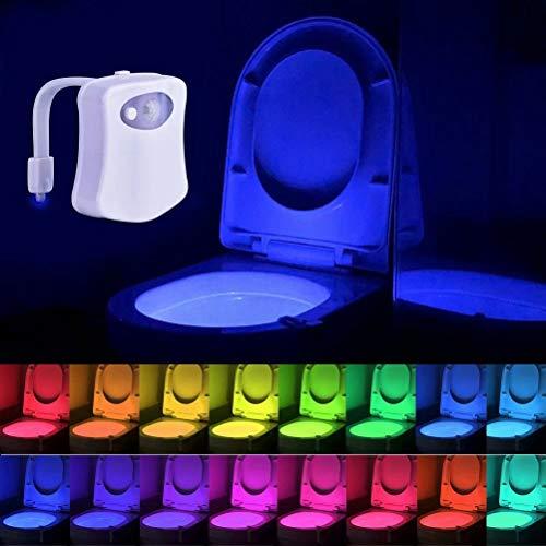 Toilette Nachtlicht Led Lampe WC-Beleuchtung Batteriebetriebene Motion Sensor Beleuchtung Toilettenlicht Badezimmer Licht Batterie 16 Farben Wechselnde - 16 Led-licht