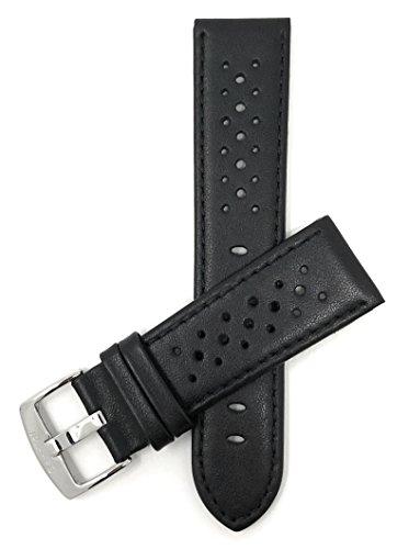 Leder Uhrenarmband 20mm für Herren, Schwarz, perforiert, Stil GT Rally, Schließe Edelstahl, auch verfügbar in weiß, rot, gelb, orange, königsblau, braun und rosa