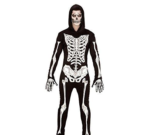 Imagen de disfraz adulto de esqueleto widmann glow in the dark, mono con capucha y guantes