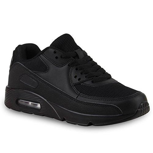 Damen Sport Lack Sneakers Schnürer Sneaker Low Lauf Runners Neon Leder-Optik CamouflageGlitzer Schuhe 110745 Schwarz 42 Flandell