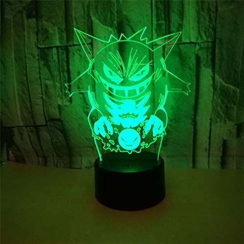 QHQ Dessins Animés Pokémon Gengar 3D Ilusion Nuit Lumière Acrylique USB Cool 7 Couleur Clignotant LED Lampe Chambre Decration Home Child Cadeau