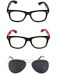 Amour-propre Aviator And Wayfarer Sunglasses Combo -Black And Red Wayfarer & Black Aviator- Unisex