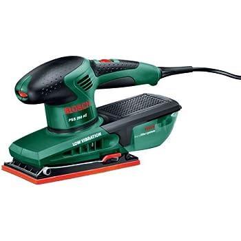Bosch Ponceuse vibrante PSS 250 AE avec régulateur électronique, système de fixation, microfiltre, coffret et feuilles abrasives 0603340200