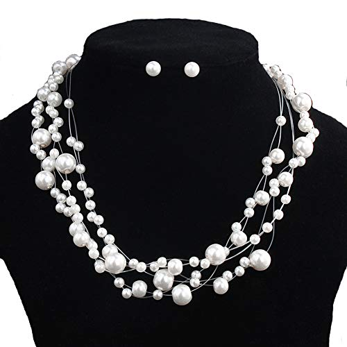 DEQIAODE Perlenkette Ohrring Set für Frauen Choker Schmuck für Braut Hochzeit (Orange Braut-schmuck-set)