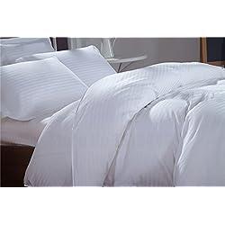 Ropa de cama egipcia - juego de sábanas de 500 hilos Euro IKEA doble blanco a rayas 100% algodón egipcio