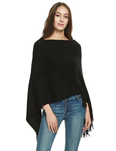 Ferand elegante poncho donna scialle mantella lavorato a maglia, collo in due modi con orlo a frange - nero