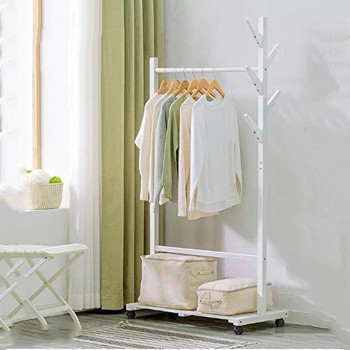 Garderobenständer Hölzerne Garderobe, Kleidungsstück Kleiderständer Holz Garderobenständer mit Rädern und 6 Haken Aufbewahrungsregale für Taschen Schuhkleidung 2 Farben (Farbe : Weiß)
