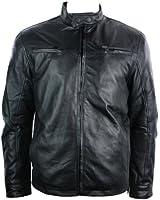 Mens All Leather Jacket Vintage Saints Biker Style Black Soft Retro Zipped