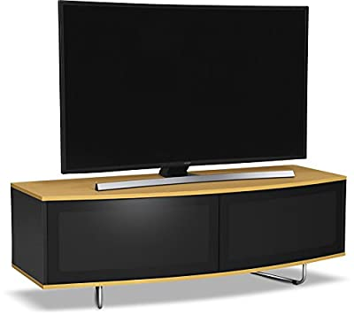 "Centurion Supports Caru Gloss Black and Oak Beam-Thru Remote Friendly Super-Contemporary""D"" Shape Design 32""-65"" LED/OLED / LCD TV Cabinet"