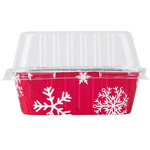 Disposable Aluminum Holiday 1 lb. Mini Loaf Pans with Clear Snap on Lid #9302X (25) by Durable Packaging -
