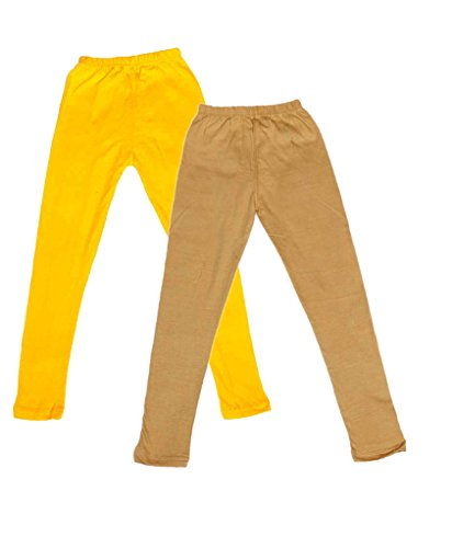 IndiWeaves Girls Super Soft Full Ankle Length Cotton Lycra Leggings (Pack of 2)_Yellow::Beige_4-5 Years  available at amazon for Rs.299