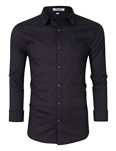 Kuulee Herren Hemd Slim Fit Langarmhemd - Baumwolle/Denim (Jeanshemd) - Für Anzug, Business, Freizeit Schwarz S
